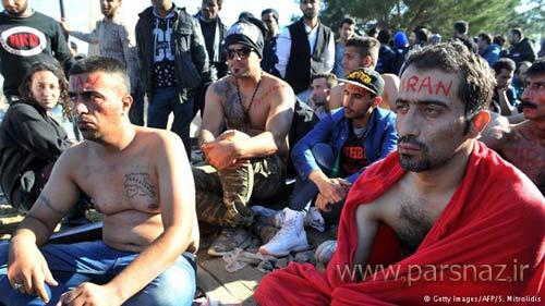پناهجویان ایرانی در مرز یونان لب هایشان را دوختند + عکس