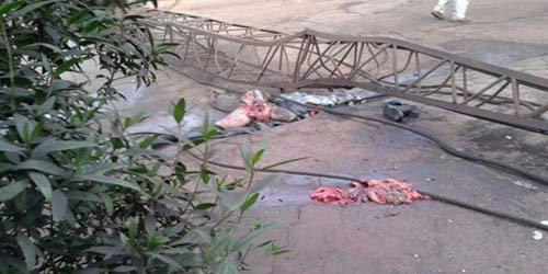سقوط وحشتناک جرثقیل اهواز دو قربانی داد + عکس 18+