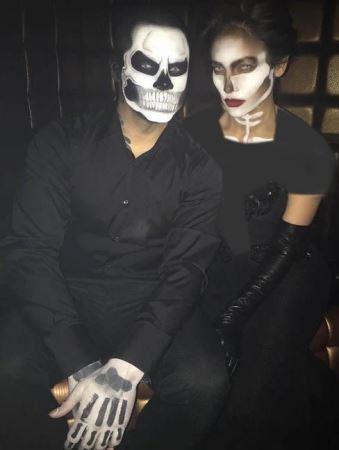 چهره عجیب جنیفر لوپز و دوست پسرش در جشن هالووین