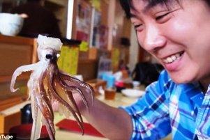 زنده زنده خوردن ماهی مرکب در رستوران + عکس