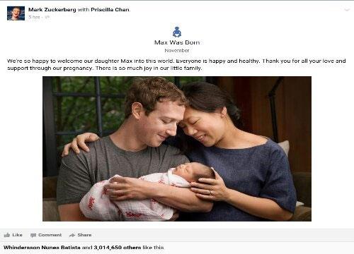 مالک فیس بوک پدر شد و تمام ثروتش را بخشید + عکس