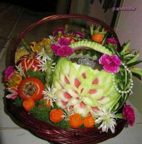 تصاویر جدید میوه آرایی و تزئین هندوانه شب یلدا