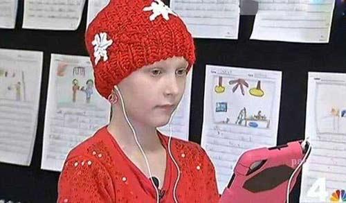 ابتکار دختر بچه سرطانی برای ادامه دادن درسش