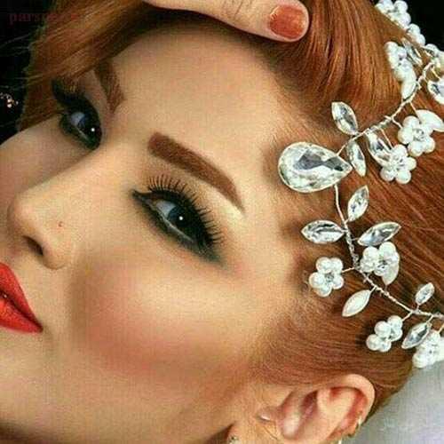 جدیدترین مدل آرایش صورت و تاج وشینیون عروس 2016