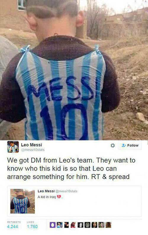 درخواست مسی از مردم برای پیدا کردن این کودک +عکس