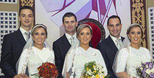 ازدواج جالب دختران 3 قلو در یک روز + عکس