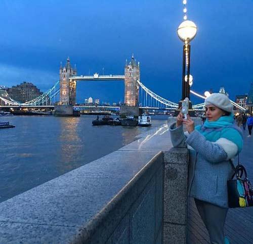 تیپ جدید و جذاب زمستانی الناز شاکردوست در لندن