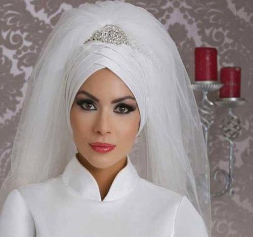 زیباترین مدل تاج و تور عروس محجبه 2017
