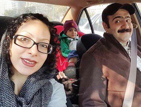 عکس جالب صداپیشه فامیل دور  با همسر و فرزند واقعیش