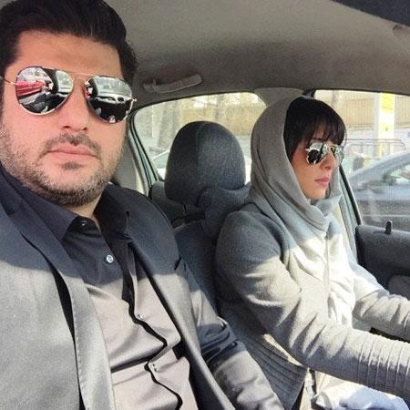 سلفی سام درخشانی و همسرش عسل امیرپور در ماشینشان