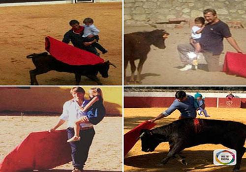 جنجال گاو بازی خطرناک دختر 5 ماهه + عکس