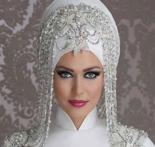 پارچه دانتل لباس عروس زیباترین مدل تاج و تور عروس محجبه 2017
