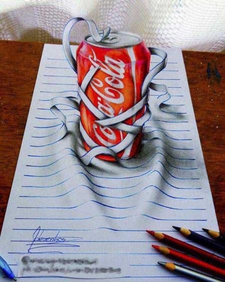 عکس جالب ترین نقاشی های سه بعدی روی دفتر خط دار