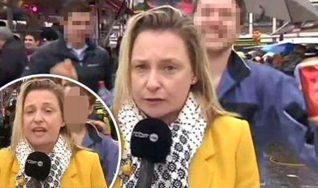 مرد مست به کمر و باسن خبرنگار زن دست زد
