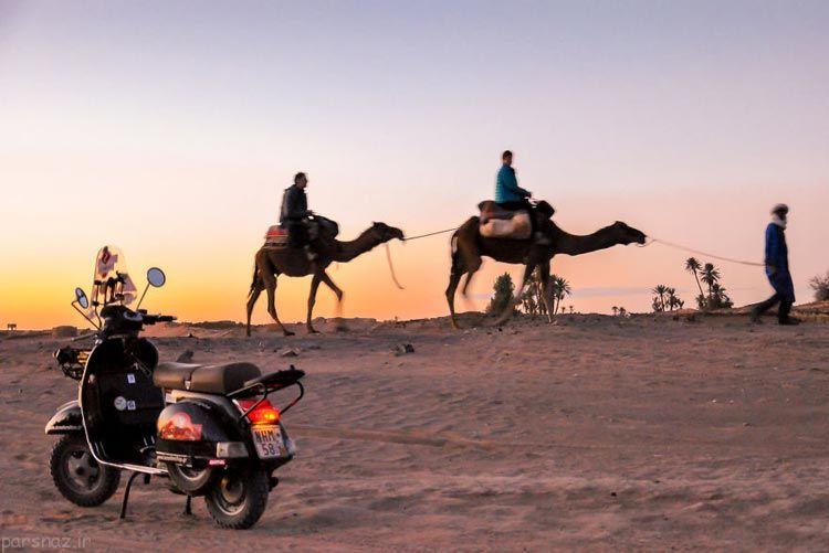عکس های یک زوج جهانگرد با یک موتور به دور دنیا