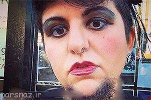 تصاویر جنجالی یک زن با ریش های بلند