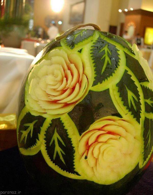 تصاویر طرح های کنده کاری شده زیبا روی هندوانه
