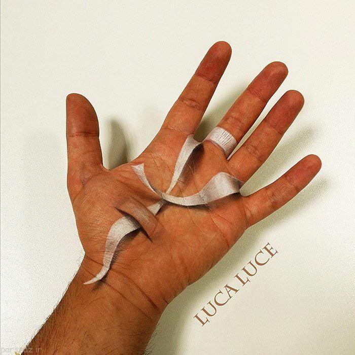 عکس های هنرمندانه از نقاشی 3 بعدی روی دست