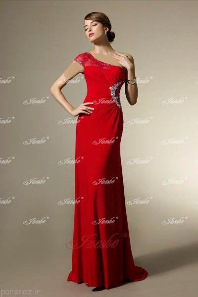 مدل های لباس شب و مجلسی قرمز 2016