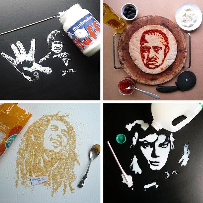 عکس هایی از نقاشی های زیبا با مواد خوراکی
