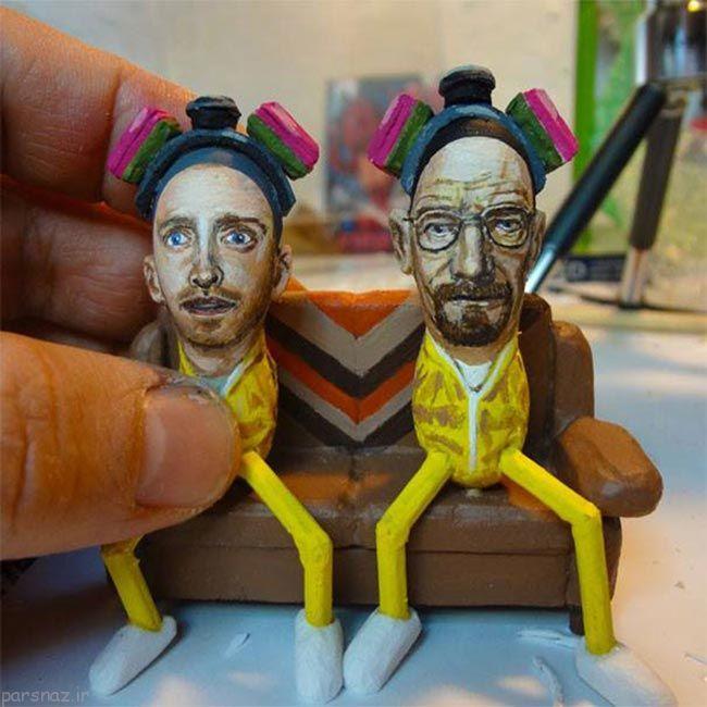 عکس های دیدنی ساخت آثار هنری جالب با بادام زمینی