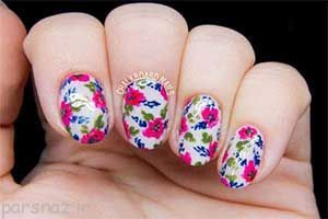 مدل های ناخن گلدار با طرح گل های بهاری