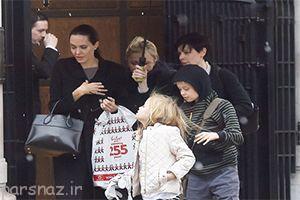 آنجلینا جولی در یک روز برفی در لندن