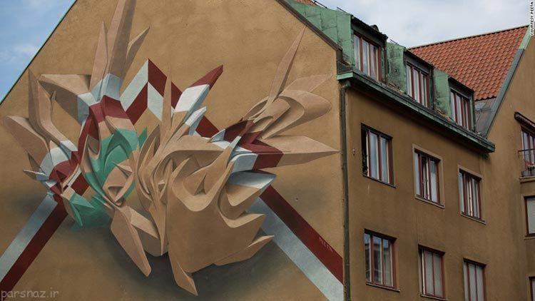 عکس های دیدنی از نقاشی های زیبا بر روی دیوار
