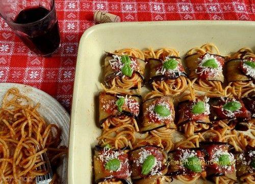 آموزش تهیه اسپاگتی با رول بادمجان