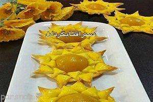 آموزش درست کردن دسر گل آفتابگردان با خمیر یوفکا