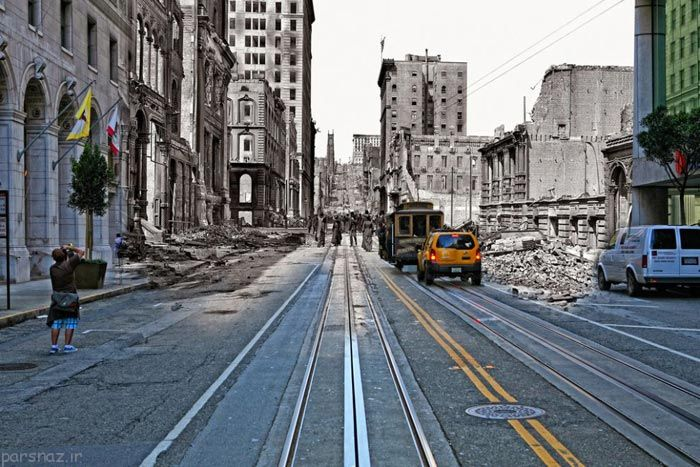 تصاویری جالب از زمین لرزه سانفرانسیسکو بعد از صد سال