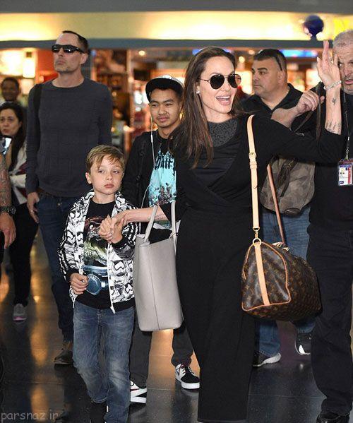 آنجلینا جولی و خانواده اش در فرودگاه نییورک سیتی