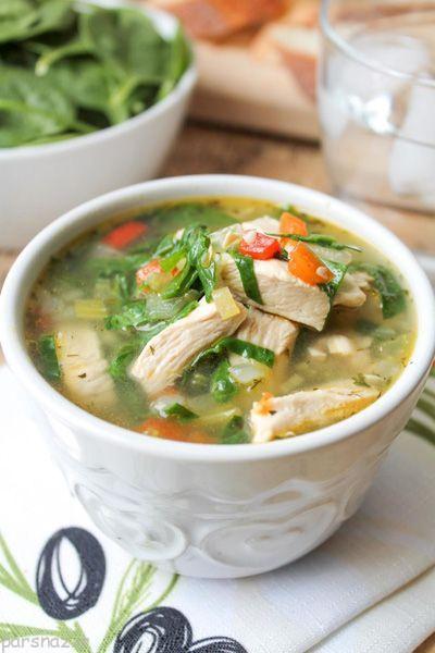 آموزش درست کردن و پخت سوپ مرغ و سبزیجات