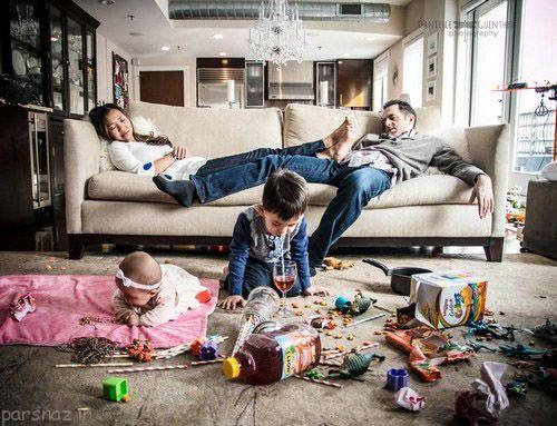 پدر و مادر شدن پردردسر اما لذت بخش + عکسهای طنز