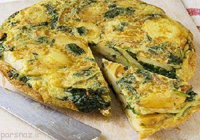 اموزش پختن املت با پنیر و سبزیجات