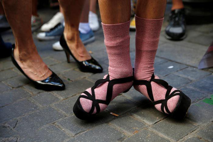 مسابقه جالب مردها با کفش های پاشنه بلند