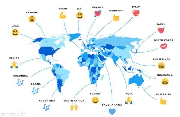 پرکاربردترین ایموجی ها در کشورهای مختلف دنیا