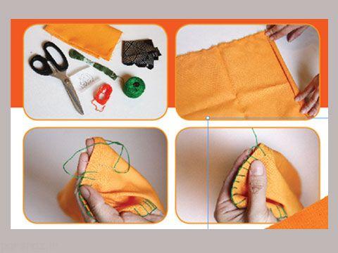 آموزش دوخت دستمال سفره پرتقالی زیبا
