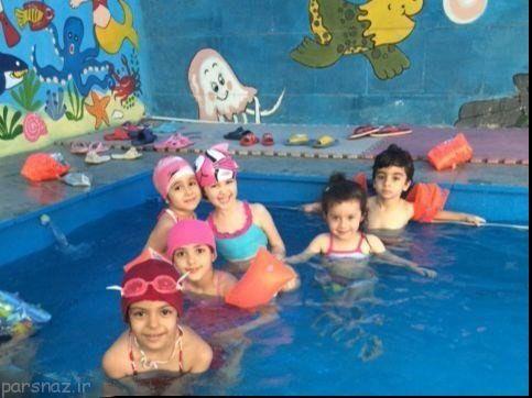 دخترها و پسرها در استخر مختلط یک مهدکودک تهران