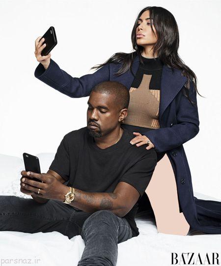 تصاویر کیم کارداشیان و همسرش در مجله هارپر بازار