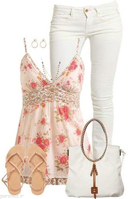 ست تابستانی زنانه با شلوار سفید