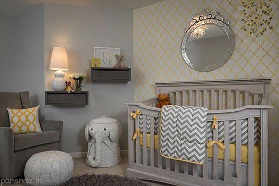 دکور اتاق کودک با رنگ های زرد و خاکستری