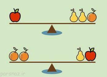 تست هوش توازن میوه ها و ترازو