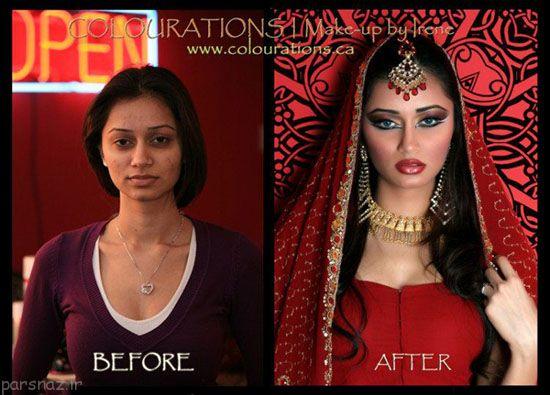 عکسهای دختران هندی قبل و بعد از آرایش عروسی