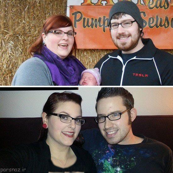 زوج ها در هنگام چاقی و بعد از رژیم +عکس