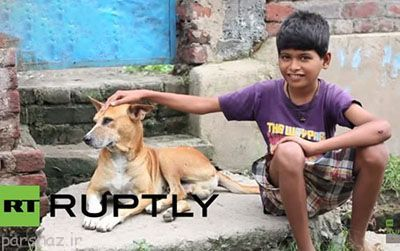 پسری که شیر سگ های ولگرد را میخورد