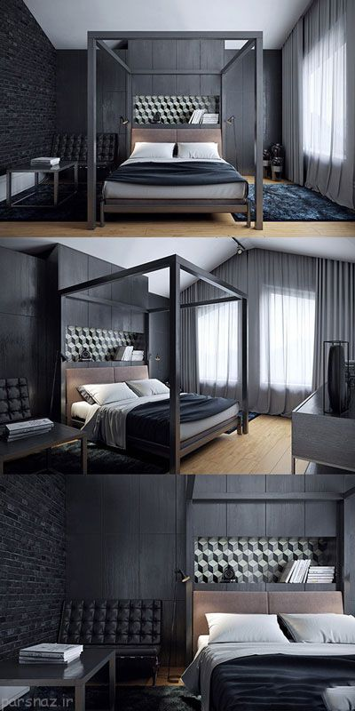 دکوراسیون اتاق خواب با رنگ های لاکچری تیره