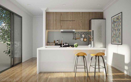 دکوراسیون آشپزخانه با بکار بردن رنگ های ساده