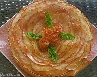 آموزش تهیه تارت سیب به شکل گل