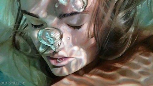 عکسهای دیدنی از نقاشی های زیبا از دختران در زیر آب